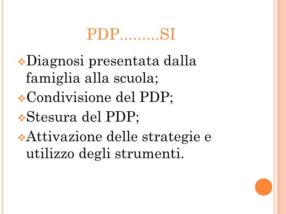 PDP.........SI Diagnosi presentata dalla famiglia alla scuola; Condivisione del PDP; Stesura del PDP; Attivazione delle strategie e utilizzo degli str