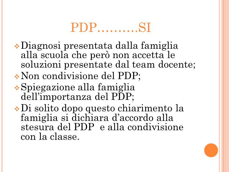PDP……….SI Diagnosi presentata dalla famiglia alla scuola che però non accetta le soluzioni presentate dal team docente; Non condivisione del PDP; Spie