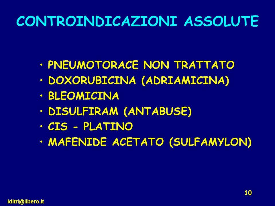 lditri@libero.it 10 PNEUMOTORACE NON TRATTATO DOXORUBICINA (ADRIAMICINA) BLEOMICINA DISULFIRAM (ANTABUSE) CIS - PLATINO MAFENIDE ACETATO (SULFAMYLON)