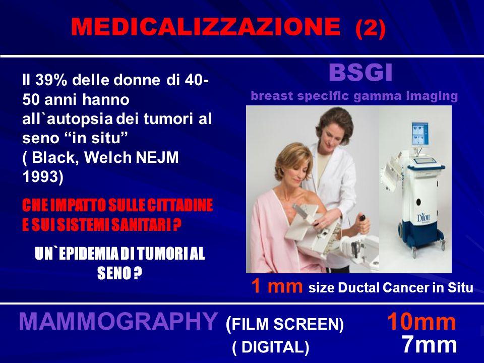 BSGI breast specific gamma imaging 1 mm size Ductal Cancer in Situ MAMMOGRAPHY ( FILM SCREEN) 10mm ( DIGITAL) 7mm MEDICALIZZAZIONE (2) Il 39% delle do