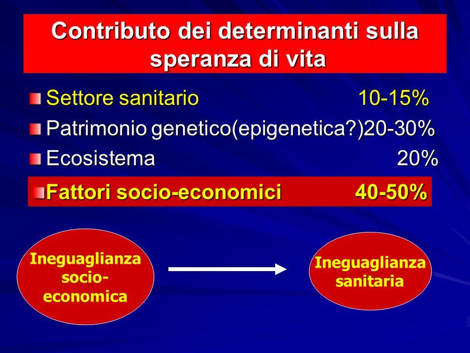 Contributo dei determinanti sulla speranza di vita Settore sanitario10-15% Patrimonio genetico(epigenetica?)20-30% Ecosistema 20% Ineguaglianza socio-