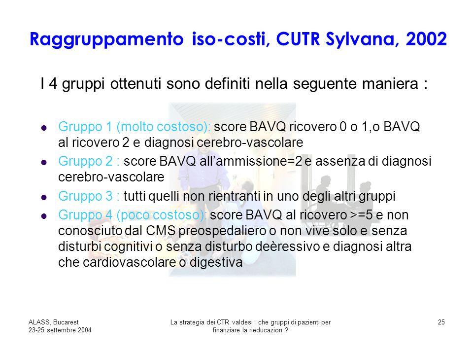 ALASS, Bucarest 23-25 settembre 2004 La strategia dei CTR valdesi : che gruppi di pazienti per finanziare la rieducazion .