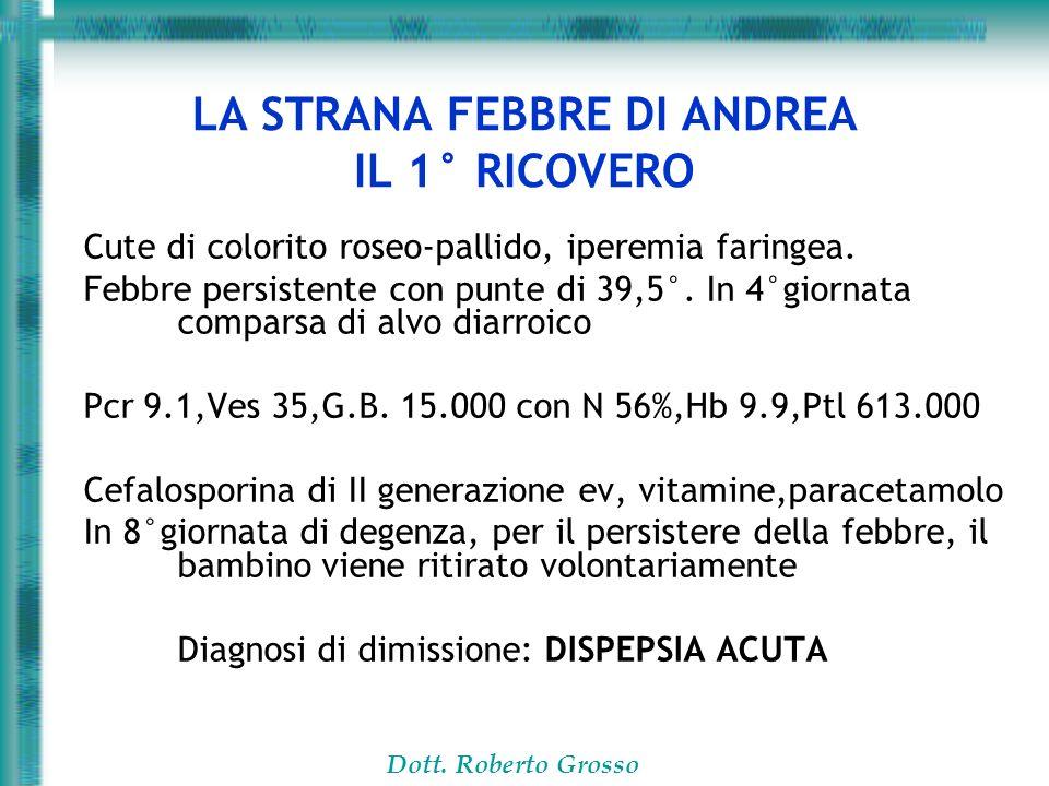 Dott. Roberto Grosso LA STRANA FEBBRE DI ANDREA IL 1° RICOVERO Cute di colorito roseo-pallido, iperemia faringea. Febbre persistente con punte di 39,5