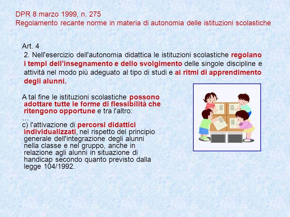 DPR 8 marzo 1999, n. 275 Regolamento recante norme in materia di autonomia delle istituzioni scolastiche Art. 4 2. Nell'esercizio dell'autonomia didat