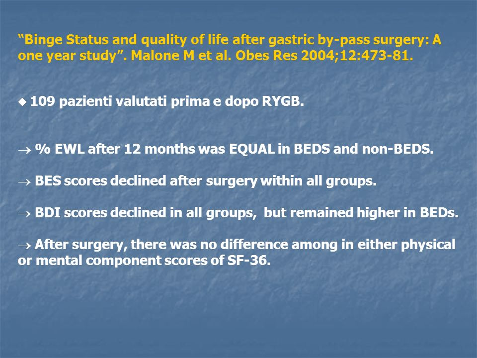 Binge Status and quality of life after gastric by-pass surgery: A one year study. Malone M et al. Obes Res 2004;12:473-81. 109 pazienti valutati prima