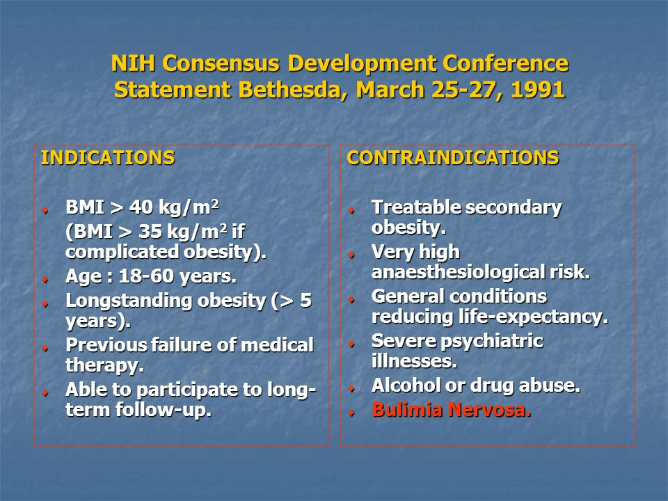 NIH Consensus Development Conference Statement Bethesda, March 25-27, 1991 CONTRAINDICATIONS Treatable secondary obesity. Treatable secondary obesity.