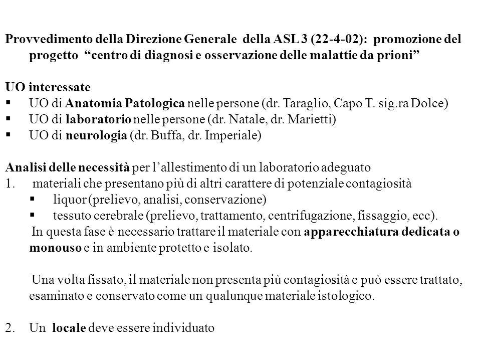 Provvedimento della Direzione Generale della ASL 3 (22-4-02): promozione del progetto centro di diagnosi e osservazione delle malattie da prioni UO in