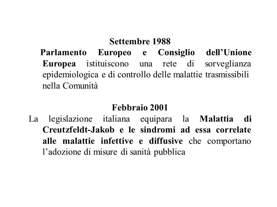 Marzo 2001 La legislazione italiana, considerata lepidemia di encefalopatia spongiforme del bovino (BSE) in atto nel Regno Unito dalla prima metà degli anni 80, stabilisce la necessità di monitorare lincidenza della malattia di Creutzfeldt-Jakob e delle sindromi ad essa correlate D E C R E T A La variante della Malattia di Creutzfeldt-Jakob, la Malattia di Creutzfeldt-Jakob e le sindromi ad esse correlate devono essere segnalate sia al sospetto che nei casi accertati.