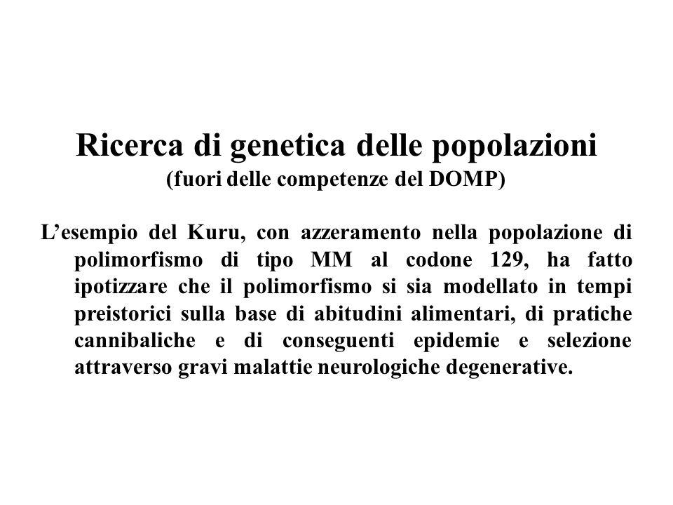 Ricerca di genetica delle popolazioni (fuori delle competenze del DOMP) Lesempio del Kuru, con azzeramento nella popolazione di polimorfismo di tipo M