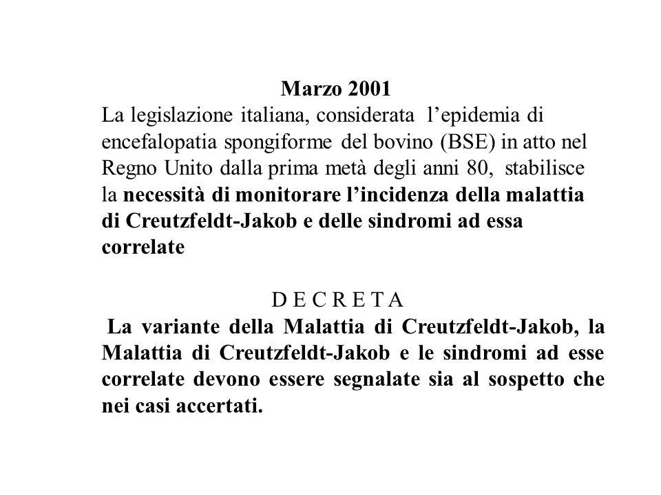 Marzo 2001 La legislazione italiana, considerata lepidemia di encefalopatia spongiforme del bovino (BSE) in atto nel Regno Unito dalla prima metà degl