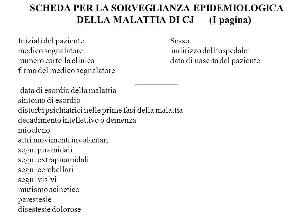 EEG caratteristico * SI.NO. NON ESEGUITO Esame liquorale (proteina 14-3-3) SI.