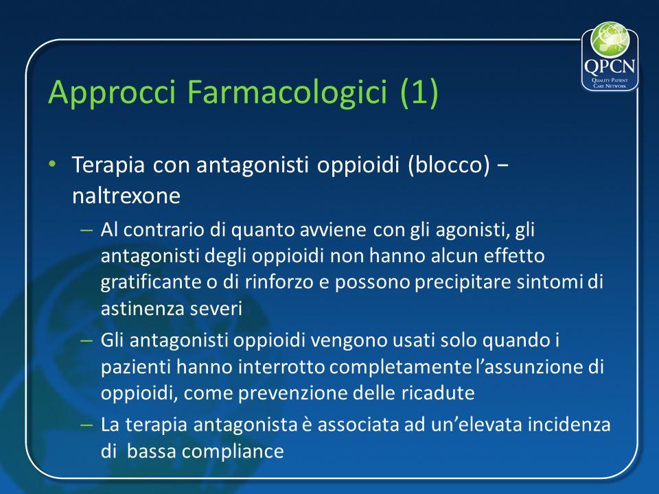 Approcci Farmacologici (1) Terapia con antagonisti oppioidi (blocco) naltrexone – Al contrario di quanto avviene con gli agonisti, gli antagonisti deg