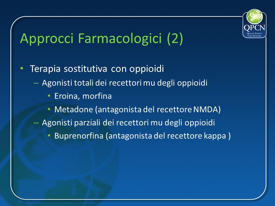 Approcci Farmacologici (2) Terapia sostitutiva con oppioidi – Agonisti totali dei recettori mu degli oppioidi Eroina, morfina Metadone (antagonista de
