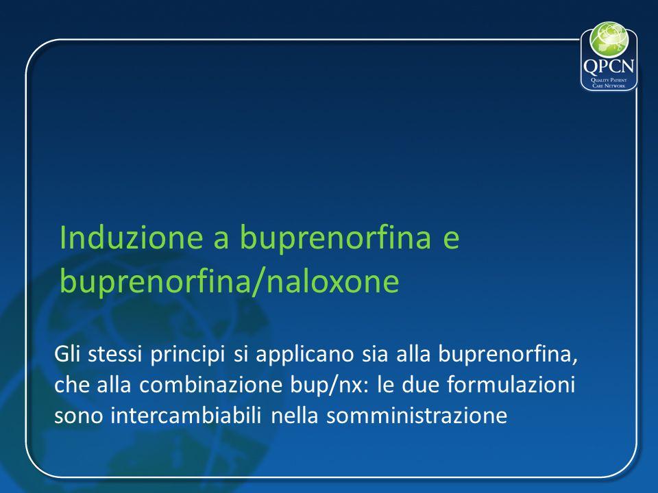Induzione a buprenorfina e buprenorfina/naloxone Gli stessi principi si applicano sia alla buprenorfina, che alla combinazione bup/nx: le due formulaz