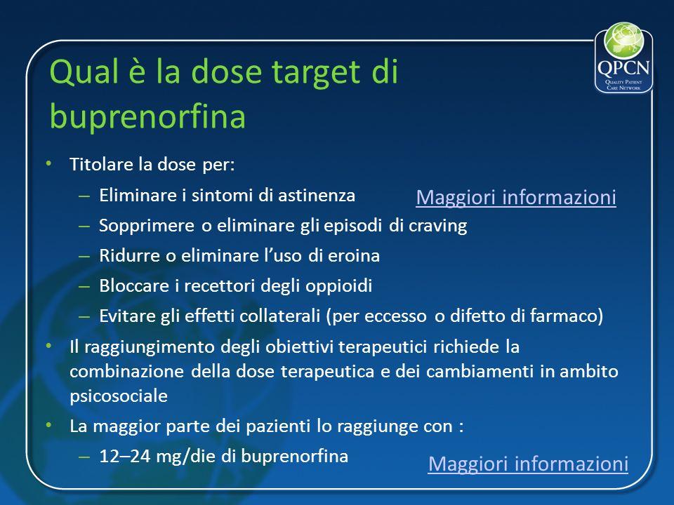 Qual è la dose target di buprenorfina Titolare la dose per: – Eliminare i sintomi di astinenza – Sopprimere o eliminare gli episodi di craving – Ridur