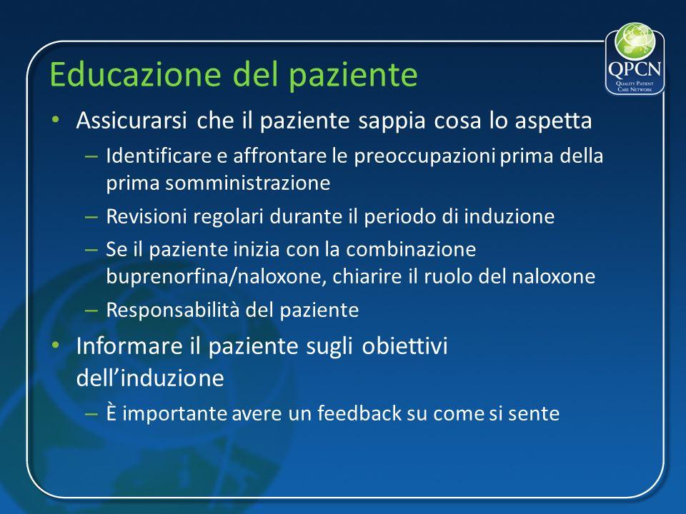 Educazione del paziente Assicurarsi che il paziente sappia cosa lo aspetta – Identificare e affrontare le preoccupazioni prima della prima somministra