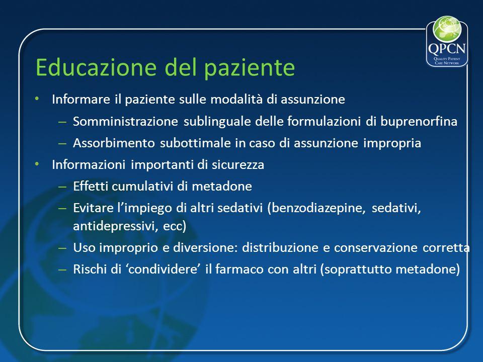 Educazione del paziente Informare il paziente sulle modalità di assunzione – Somministrazione sublinguale delle formulazioni di buprenorfina – Assorbi