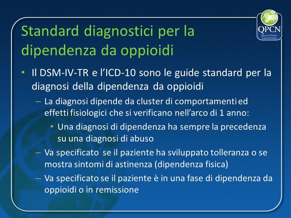Standard diagnostici per la dipendenza da oppioidi Il DSM-IV-TR e lICD-10 sono le guide standard per la diagnosi della dipendenza da oppioidi – La dia