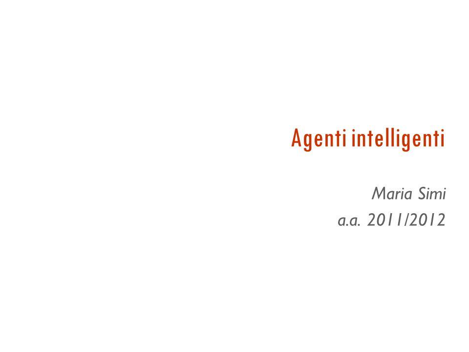 Conclusioni Agenti e programmi agente Misure di prestazioni Classificazione degli ambienti operativi Diverse architetture di complessità crescente per i programmi agente Tutti gli agenti possono migliorarsi con lapprendimento