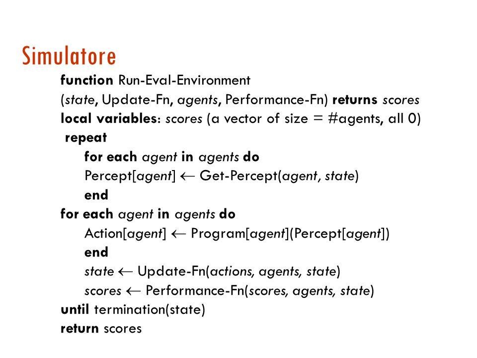 Simulatore di ambienti Uno strumento software che si occupa di: generare stimoli per gli agenti raccogliere le azioni in risposta aggiornare lo stato