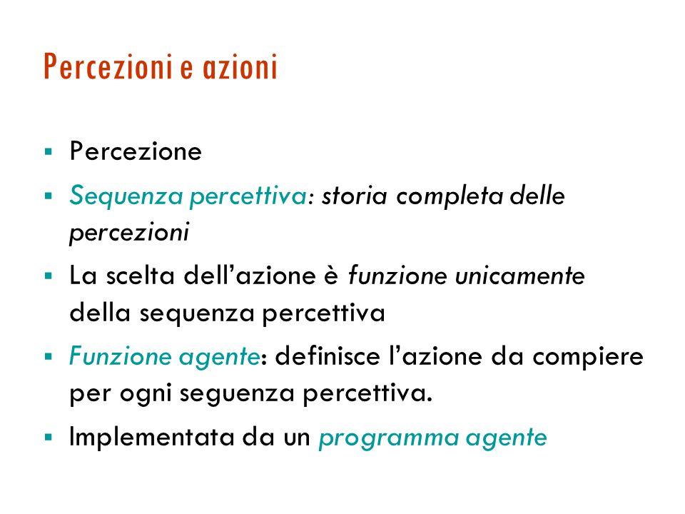 Percezioni e azioni Percezione Sequenza percettiva: storia completa delle percezioni La scelta dellazione è funzione unicamente della sequenza percettiva Funzione agente: definisce lazione da compiere per ogni seguenza percettiva.