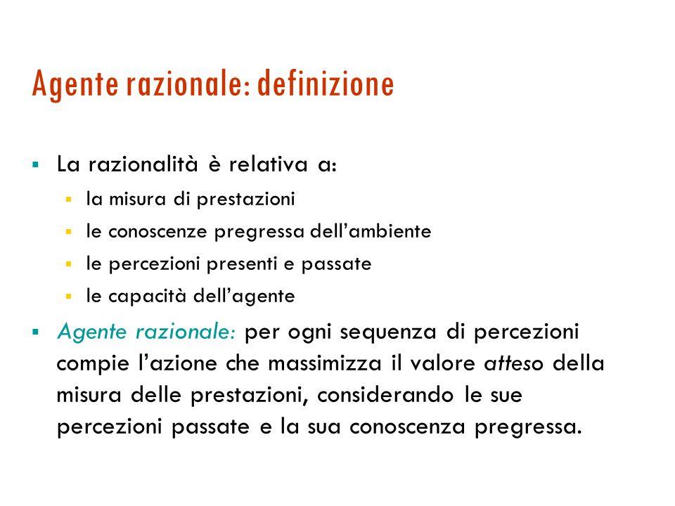 Predicibilità Deterministico Se lo stato successivo è completamente determinato dallo stato corrente e dallazione.
