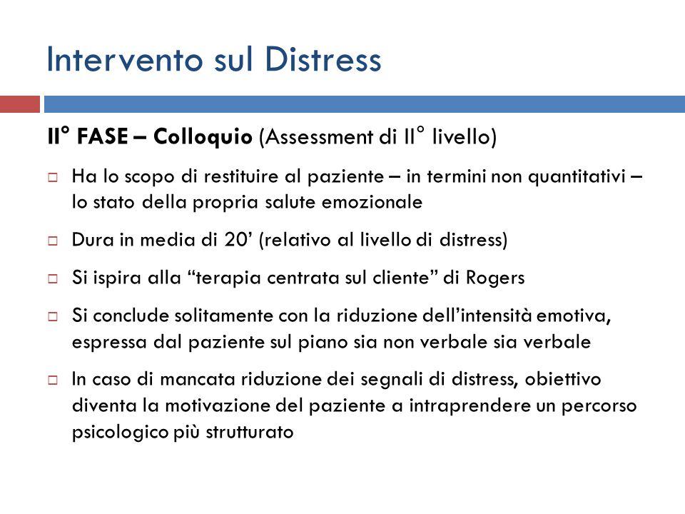 Intervento sul Distress II° FASE – Colloquio (Assessment di II° livello) Ha lo scopo di restituire al paziente – in termini non quantitativi – lo stat