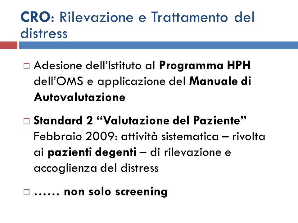 CRO: Rilevazione e Trattamento del distress Adesione dellIstituto al Programma HPH dellOMS e applicazione del Manuale di Autovalutazione Standard 2 Va