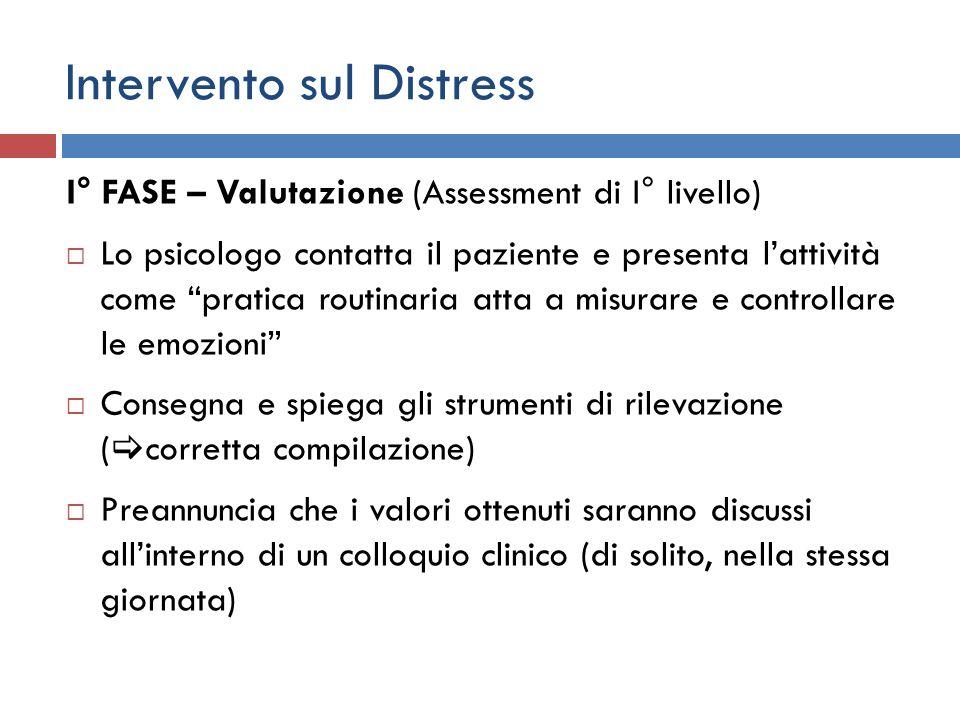 Intervento sul Distress I° FASE – Valutazione (Assessment di I° livello) Lo psicologo contatta il paziente e presenta lattività come pratica routinari