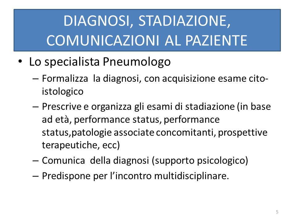5 DIAGNOSI, STADIAZIONE, COMUNICAZIONI AL PAZIENTE Lo specialista Pneumologo – Formalizza la diagnosi, con acquisizione esame cito- istologico – Presc