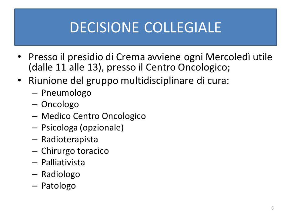 6 DECISIONE COLLEGIALE Presso il presidio di Crema avviene ogni Mercoledì utile (dalle 11 alle 13), presso il Centro Oncologico; Riunione del gruppo m