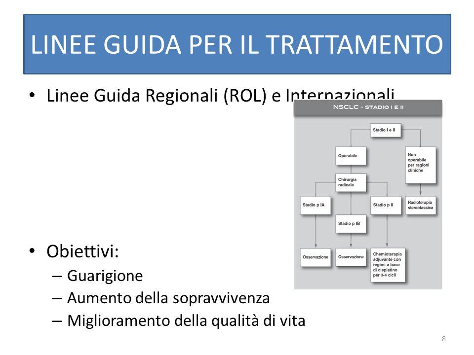 8 LINEE GUIDA PER IL TRATTAMENTO Linee Guida Regionali (ROL) e Internazionali Obiettivi: – Guarigione – Aumento della sopravvivenza – Miglioramento de