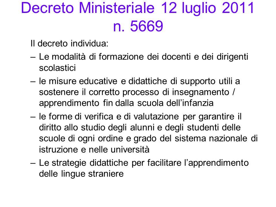 Decreto Ministeriale 12 luglio 2011 n. 5669 Il decreto individua: –Le modalità di formazione dei docenti e dei dirigenti scolastici –le misure educati