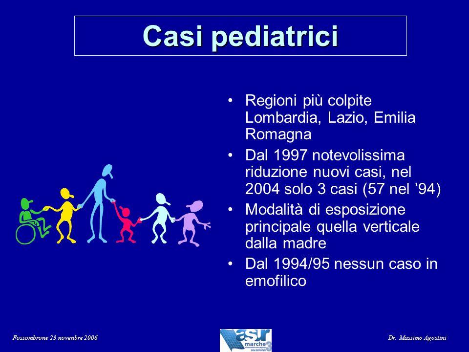 Casi pediatrici Regioni più colpite Lombardia, Lazio, Emilia Romagna Dal 1997 notevolissima riduzione nuovi casi, nel 2004 solo 3 casi (57 nel 94) Mod
