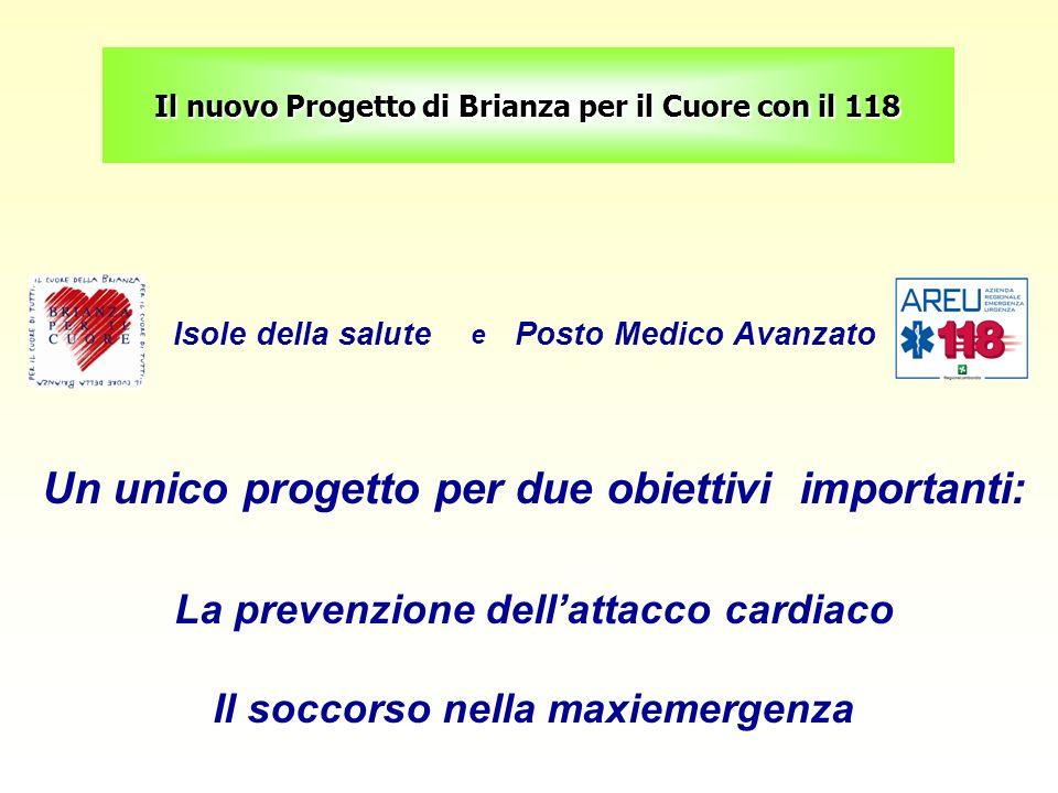 Il nuovo Progetto di Brianza per il Cuore con il 118 Isole della salute e Posto Medico Avanzato Un unico progetto per due obiettivi importanti: La pre
