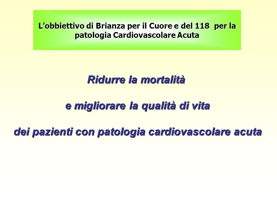 Lobbiettivo di Brianza per il Cuore e del 118 per la patologia Cardiovascolare Acuta Ridurre la mortalità e migliorare la qualità di vita e migliorare