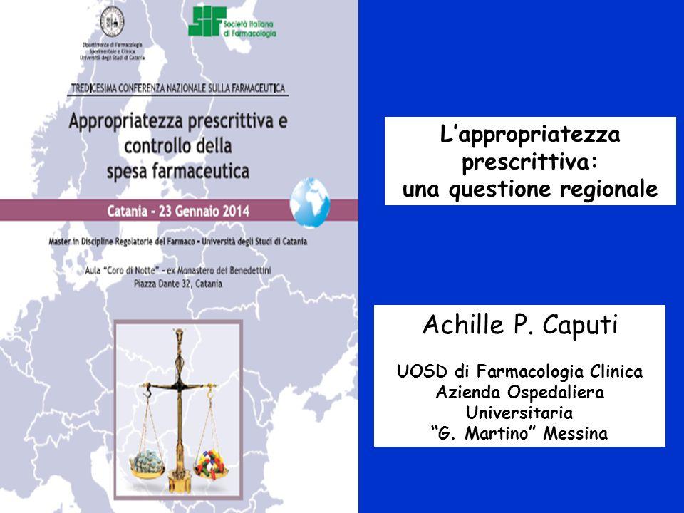 Lappropriatezza prescrittiva: una questione regionale Achille P. Caputi UOSD di Farmacologia Clinica Azienda Ospedaliera Universitaria G. Martino Mess