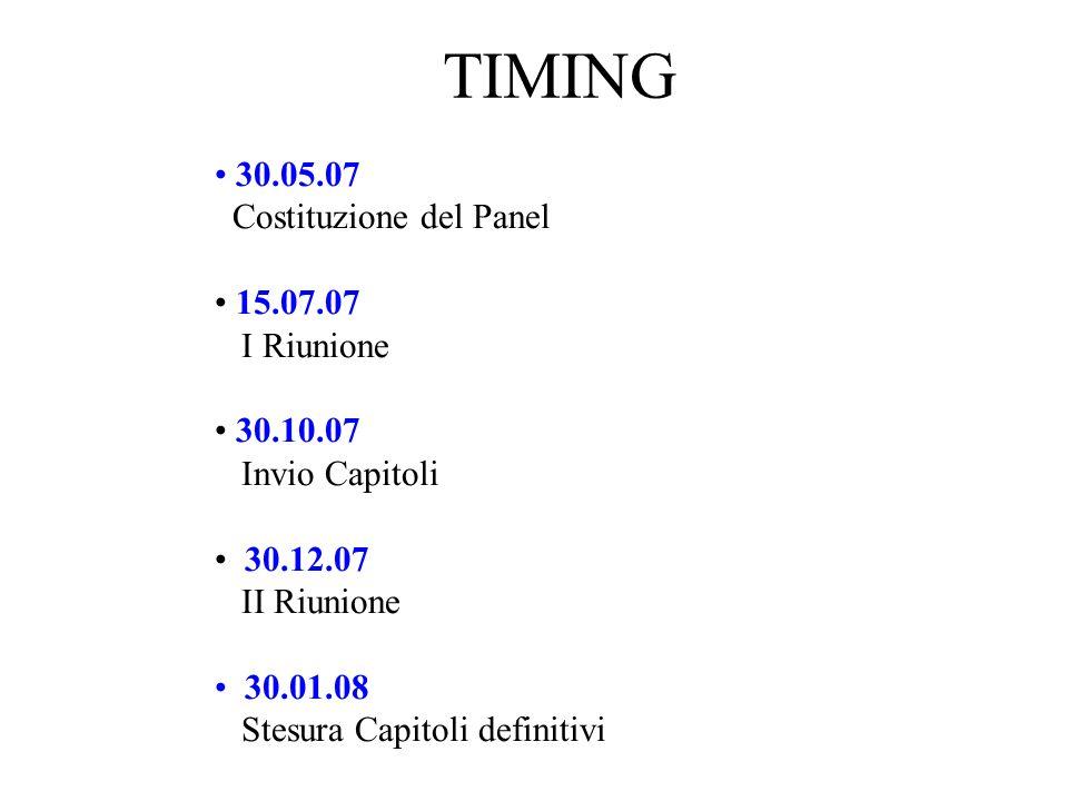 TIMING 30.05.07 Costituzione del Panel 15.07.07 I Riunione 30.10.07 Invio Capitoli 30.12.07 II Riunione 30.01.08 Stesura Capitoli definitivi