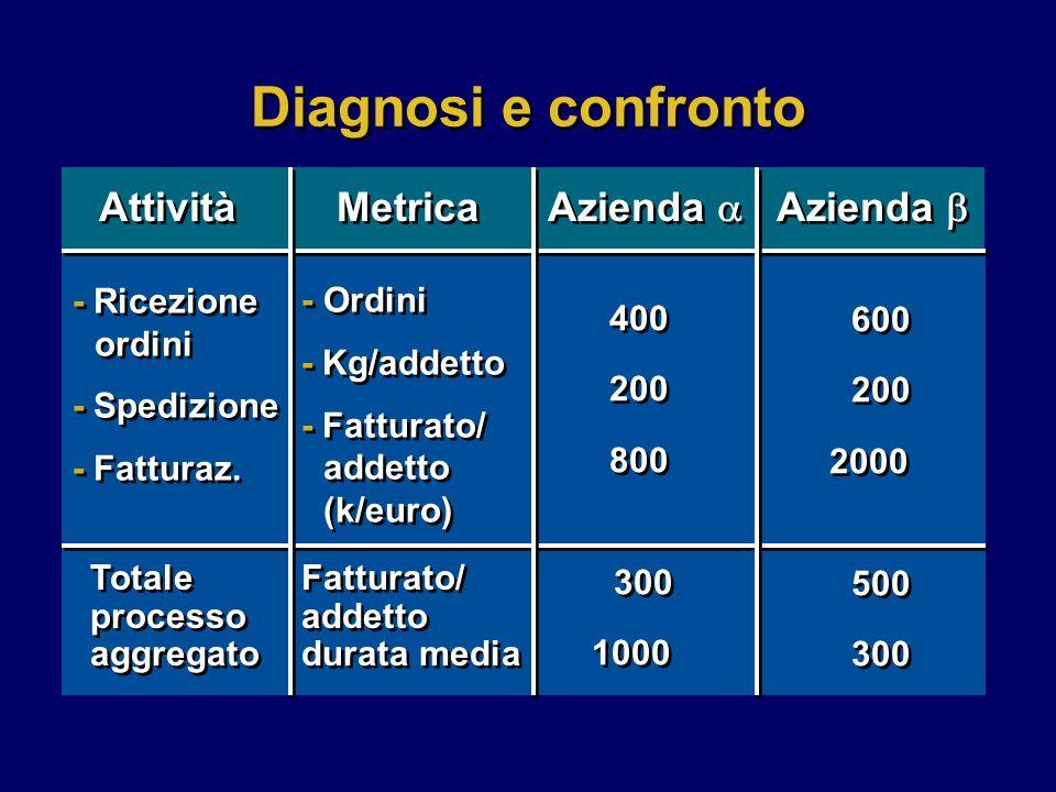 Diagnosi e confronto Attività Metrica Azienda - Ricezione ordini - Spedizione - Fatturaz.