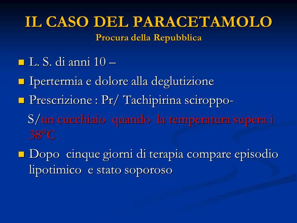 IL CASO DEL PARACETAMOLO Procura della Repubblica L. S. di anni 10 – L. S. di anni 10 – Ipertermia e dolore alla deglutizione Ipertermia e dolore alla