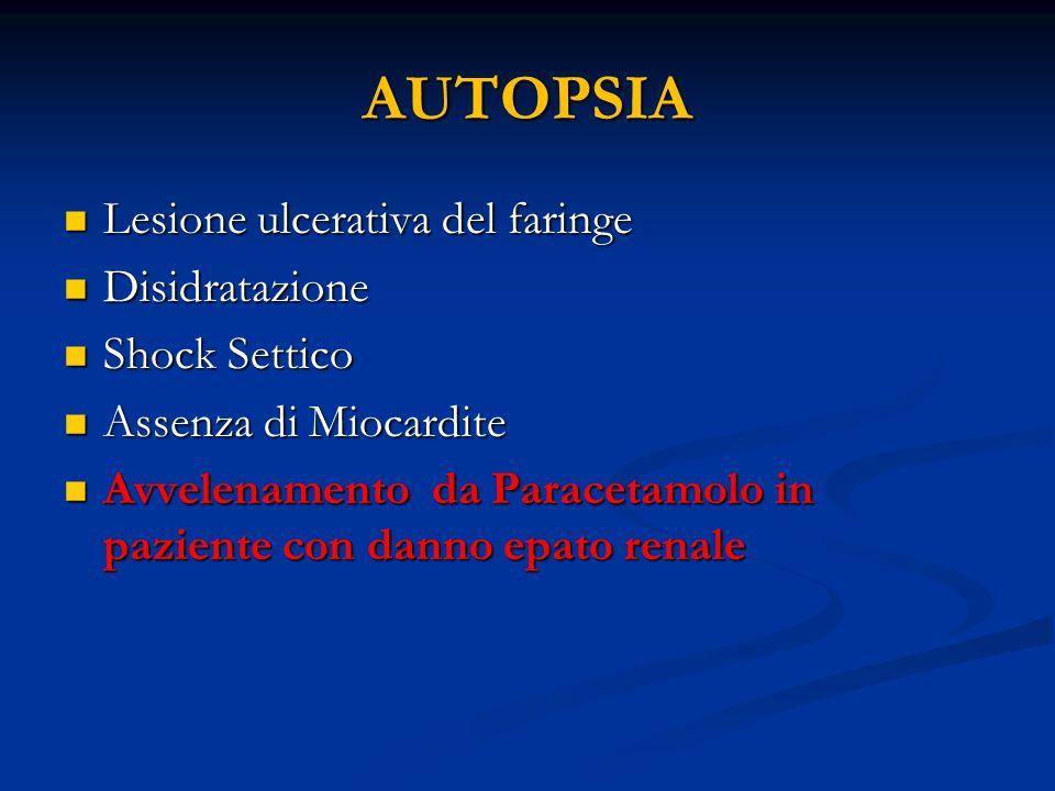 AUTOPSIA Lesione ulcerativa del faringe Lesione ulcerativa del faringe Disidratazione Disidratazione Shock Settico Shock Settico Assenza di Miocardite