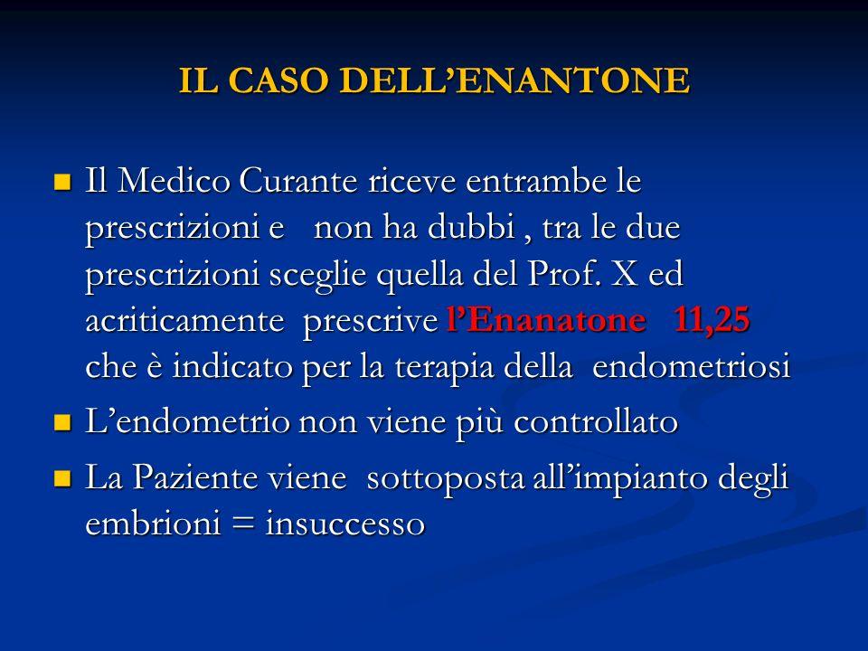IL CASO DELLENANTONE Il Medico Curante riceve entrambe le prescrizioni e non ha dubbi, tra le due prescrizioni sceglie quella del Prof. X ed acriticam