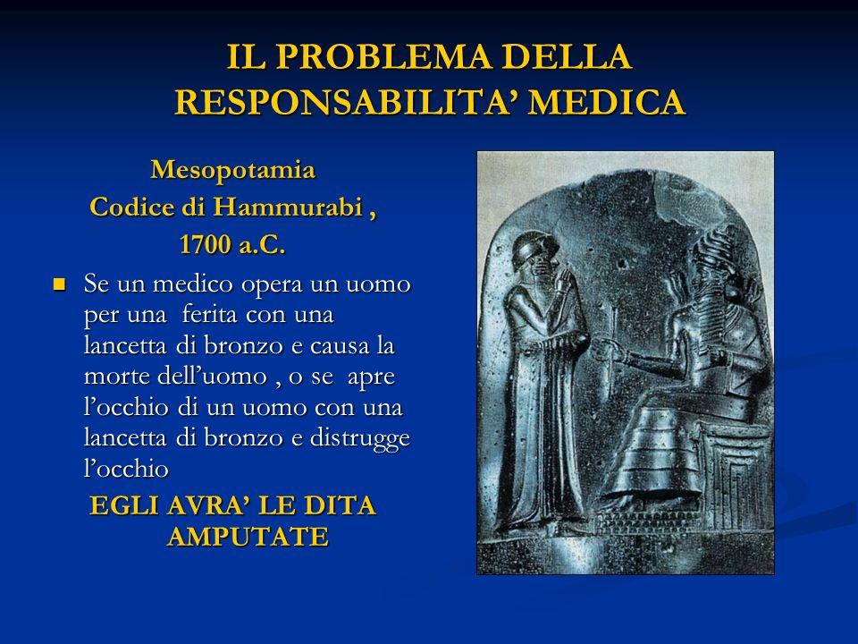 IL PROBLEMA DELLA RESPONSABILITA MEDICA Mesopotamia Codice di Hammurabi, 1700 a.C. Se un medico opera un uomo per una ferita con una lancetta di bronz