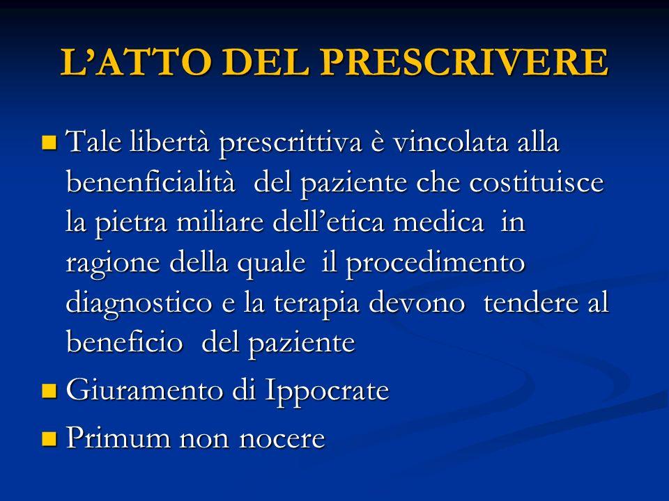 LATTO DEL PRESCRIVERE Tale libertà prescrittiva è vincolata alla benenficialità del paziente che costituisce la pietra miliare delletica medica in rag
