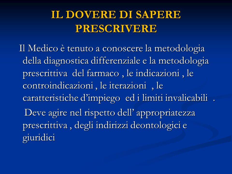 IL DOVERE DI SAPERE PRESCRIVERE Il Medico è tenuto a conoscere la metodologia della diagnostica differenziale e la metodologia prescrittiva del farmac
