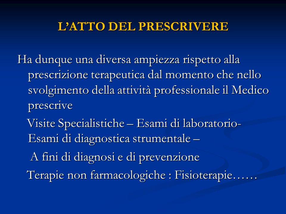 LATTO DEL PRESCRIVERE Ha dunque una diversa ampiezza rispetto alla prescrizione terapeutica dal momento che nello svolgimento della attività professio