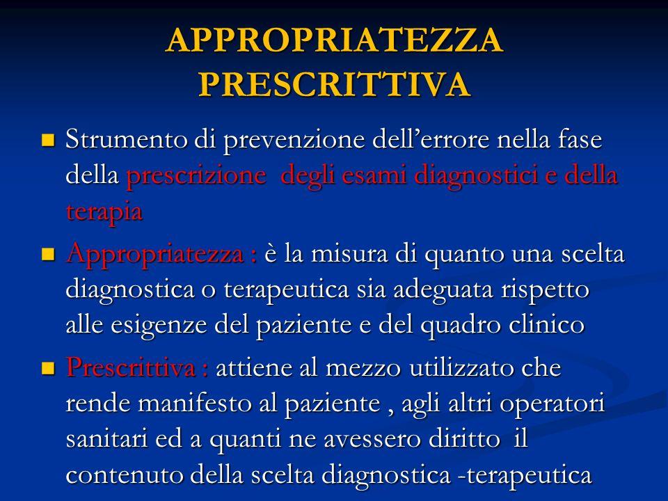 APPROPRIATEZZA PRESCRITTIVA Strumento di prevenzione dellerrore nella fase della prescrizione degli esami diagnostici e della terapia Strumento di pre