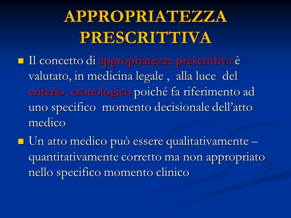 APPROPRIATEZZA PRESCRITTIVA Il concetto di appropriatezza prescrittiva è valutato, in medicina legale, alla luce del criterio cronologico poiché fa ri