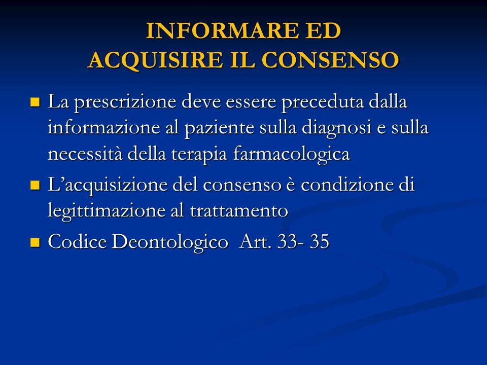 INFORMARE ED ACQUISIRE IL CONSENSO La prescrizione deve essere preceduta dalla informazione al paziente sulla diagnosi e sulla necessità della terapia