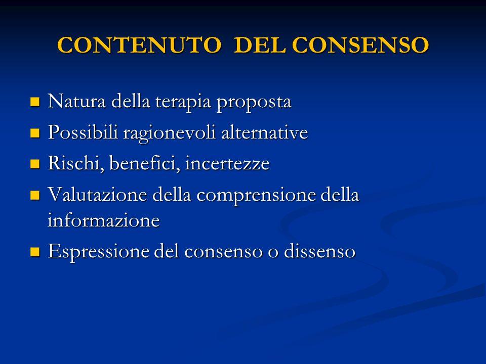 CONTENUTO DEL CONSENSO Natura della terapia proposta Natura della terapia proposta Possibili ragionevoli alternative Possibili ragionevoli alternative